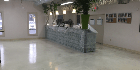 retail space with concrete coating