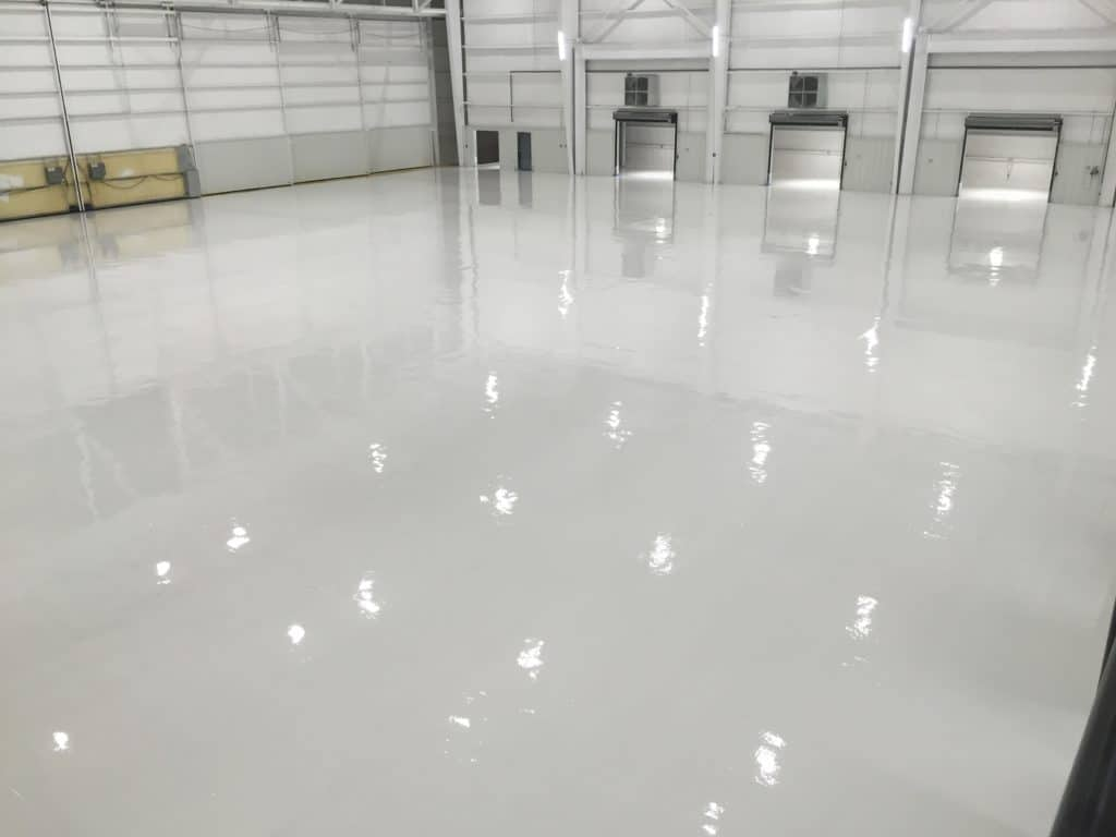 white industrial commercial epoxy floor