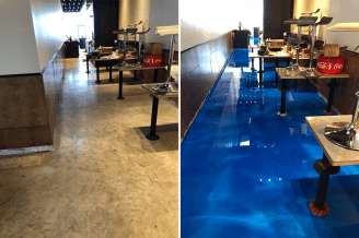 before after restaurant epoxy coating