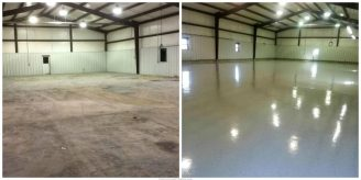 before and after epoxy commercial garage